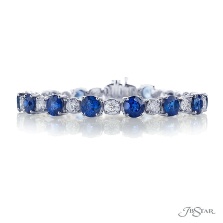 Magnificent bracelet featuring round blue sapphires and round diamonds in an alternating design handcrafted in pure platinum. [details] Stone Information SHAPE TYPE WEIGHT Round Sapphire 20.38 ctw. Round Diamond 5.40 ctw. [enddetails] | JB Star 1385-003 Bracelets