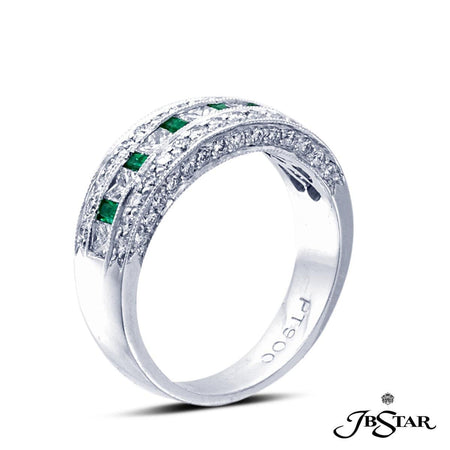 Exquisitely crafted wedding band featuring emerald-cut emeralds and princess-cut diamonds enhanced with pave accents. Handcrafted in pure platinum. [details] Stone Information SHAPE TYPE WEIGHT Round Princess Straight Baguette Diamond Diamond Emerald 0.58 ctw. 0.54 ctw. 0.25 ctw. [enddetails] | JB Star 1416-018 Anniversary & Wedding
