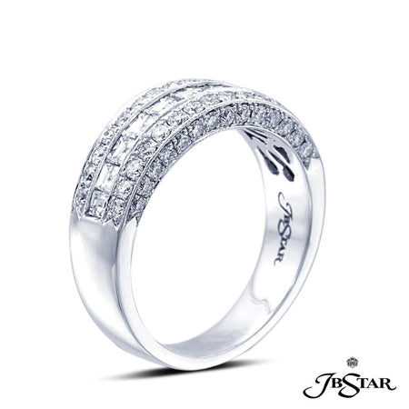 Exquisitely crafted wedding band featuring square emerald-cut and round diamonds enhanced with pave accents. Handcrafted in platinum. [details] Stone Information SHAPE TYPE WEIGHT Round Square Diamond Diamond 0.63 ctw. 0.75 ctw. [enddetails] | JB Star 1416-181 Anniversary & Wedding