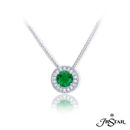 Beautiful emerald and diamond pendant featuring a 1.10 ct. round emerald center edged in round diamond pave. Handcrafted in pure platinum. [details] Center Stone(s) SHAPE TYPE WEIGHT Round Emerald 1.10 ct. Stone Information SHAPE TYPE WEIGHT Round Diamond 0.26 ctw. [enddetails] | JB Star 1441-018 Pendants