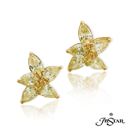 Fancy light yellow diamond earrings uniquely designed using 10 pear-shaped diamonds. Handcrafted in 18KY gold. [details] Center Stone(s) SHAPE TYPE WEIGHT COLOR Pear Diamond 3.20 ctw. Fancy Yellow [enddetails] | JB Star 1455-005 Earrings