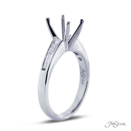 Platinum Diamond Semi-Mount Ring with Baguettes | 1478-005 JB Star Side View