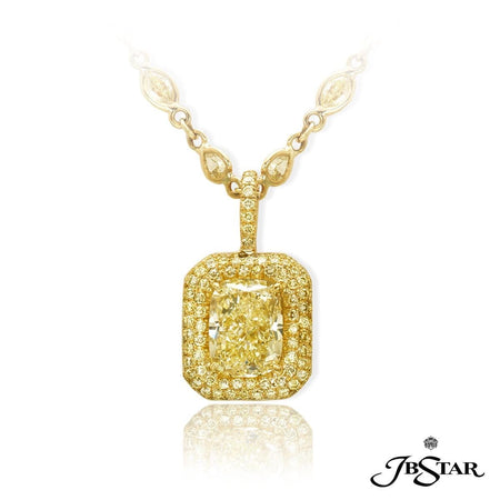 Beautiful fancy light yellow diamond pendant featuring a striking 3.83 ct. GIA certified cushion cut fancy light yellow diamond edged with round fancy yellow diamond pave in 18KY. [details] Center Stone(s) SHAPE TYPE WEIGHT COLOR CLARITY Cushion Diamond 3.83 ct. Fancy Light Yellow VVS2 Stone Information SHAPE TYPE WEIGHT COLOR Round Diamond 0.71 ct. Fancy Yellow [enddetails] | JB Star 1538-026 Pendants