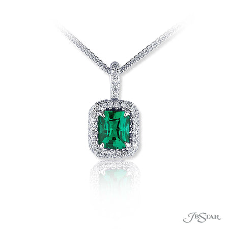 Stunning emerald and diamond pendant featuring a 1.44 ct. emerald-cut emerald surrounded by round diamond micro pave. Handcrafted in pure platinum. [details] Center Stone(s) SHAPE TYPE WEIGHT Emerald Emerald 1.44 ct. Stone Information SHAPE TYPE WEIGHT Round Diamond 0.42 ctw. [enddetails] | JB Star 1538-039 Pendants