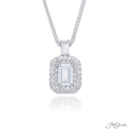 1538-006 | Diamond Pendant Emerald Cut 1.06 GIA certified Micro Pave