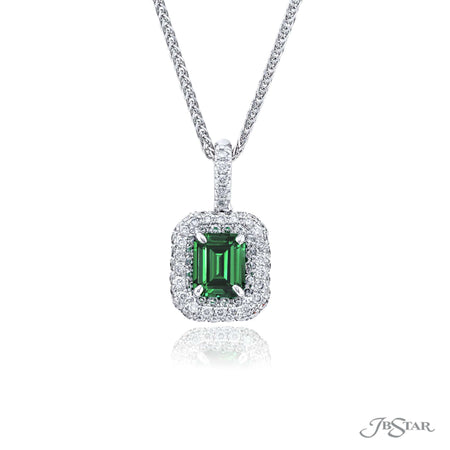 1538-043 | Emerald & Diamond Pendant 1.15 ct. Emerald-Cut Micro Pave