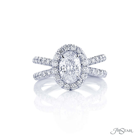 Platinum 1.20 ct Oval Diamond Ring with micro pave split band