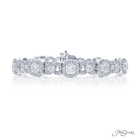 Stunning diamond bracelet with 10 cushion diamonds and 10 round diamonds linked together surrounded in micro pave diamonds. Handcrafted in pure platinum. [details] Stone Information SHAPE TYPE WEIGHT Cushion Diamond 7.55 ctw. Round Diamond 4.56 ctw. [enddetails] | JB Star 1603-001 Bracelets