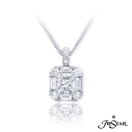 Lovely diamond pendant featuring a 1.00 ct. GIA certified square emerald cut diamond center embraced by round and straight baguette diamonds. Handcrafted in pure platinum. [details] Center Stone(s) SHAPE TYPE WEIGHT COLOR CLARITY Square Emerald Diamond 1.00 ct. J VS2 Notes: GIA Stone Information SHAPE TYPE WEIGHT Round Straight Baguette Diamond Diamond 0.36 ctw. 0.39 ctw. [enddetails] | JB Star 1621-004 Pendants