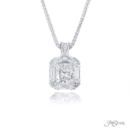 Beautifully designed platinum pendant features an exceptional 1.00 ct. cushion cut diamond center and is embraced with round and straight baguette diamonds. [details] Center Stone(s) SHAPE TYPE WEIGHT COLOR CLARITY Cushion Diamond 1.00 ct. G VS2 Notes: GIA Stone Information SHAPE TYPE WEIGHT Straight Baguette Round Diamond Diamond 0.60 ctw. 0.41 ctw. [enddetails] | JB Star 1621-002 Pendants