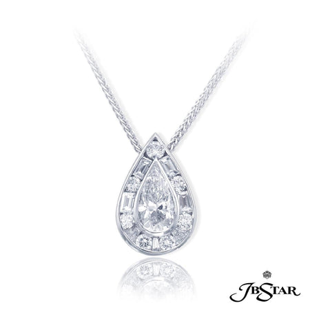 Stunning platinum and diamond pendant featuring a 1.20 ct. GIA certified pear shape diamond center encircled with round and tapered baguette diamonds. [details] Center Stone(s) SHAPE TYPE WEIGHT COLOR CLARITY Pear Diamond 1.20 ct. D SI2 Notes: GIA Stone Information SHAPE TYPE WEIGHT Round Tapered Baguette Diamond Diamond 0.52 ctw. 0.50 ctw. [enddetails] | JB Star 1625-020 Pendants