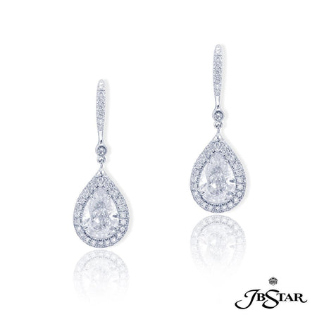 Dazzling diamond drop earrings featuring 3.14 ct. GIA certified pear-shape diamonds hung and embraced by round diamonds, handcrafted in platinum. [details] Center Stone(s) SHAPE TYPE WEIGHT COLOR CLARITY Pear Pear Diamond Diamond 1.56 ct. 1.58 ct. H H Si1 Si1 Stone Information SHAPE TYPE WEIGHT Round Diamond 1.00 ctw. [enddetails] | JB Star 1631-096 Earrings