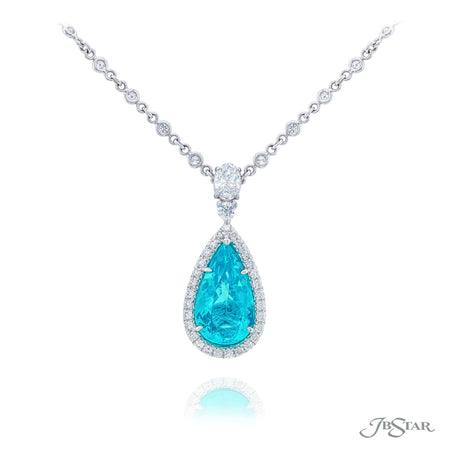 Magnificent paraiba and diamond pendant featuring a gorgeous 6.62 ct. pear shape paraiba GIA certified, encircled by round diamond pave and hung by a oval diamonds. Handcrafted in pure platinum. [details] Center Stone(s) SHAPE TYPE WEIGHT Pear Paraiba 6.62 ct. Stone Information SHAPE TYPE WEIGHT Round Oval Diamond Diamond 0.70 ctw. 0.50 ctw. [enddetails] | JB Star 1631-122 Pendants