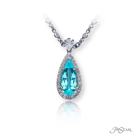 Stunning paraiba and diamond pendant featuring a 2.24 ct. pear-shape gubelin paraiba surrounded by round diamond pave. Handcrafted in pure platinum. [details] Center Stone(s) SHAPE TYPE WEIGHT Pear Paraiba 2.24 ct. Stone Information SHAPE TYPE WEIGHT Round Diamond 0.70 ctw. [enddetails] | JB Star 1631-127 Pendants