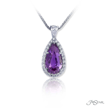 Stunning purple sapphire and diamond pendant featuring a 4.25 ct. certified