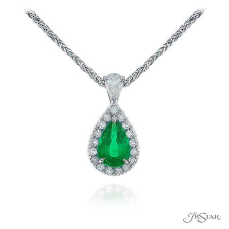 Stunning emerald and diamond pendant featuring a 1.21 ct. pear shaped emerald center encircled by round diamond pave and hung by a pear diamond. [details] Center Stone(s) SHAPE TYPE WEIGHT Pear Emerald 1.21 ct. Stone Information SHAPE TYPE WEIGHT Round Diamond 0.26 ctw. Pear Diamond 0.23 ctw. [enddetails] | JB Star 1631-134 Pendants