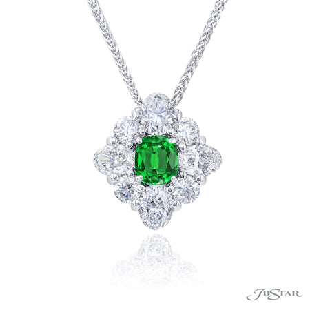 1647-011 | Emerald & Diamond Pendant Emerald-Cut 0.74 ct. Oval & Round