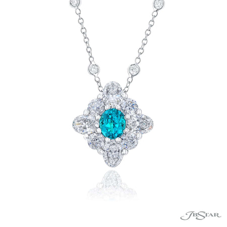 1647-012 | Paraiba & Diamond Pendant 0.87 ct Certified Oval & Round