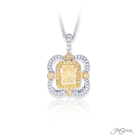 Dazzling fancy light yellow diamond pendant featuring a 1.54 ct. GIA certified radiant cut fancy light yellow diamond center surround by fancy yellow and white diamond pave. Handcrafted in pure platinum and 18KY Gold. [details] Center Stone(s) SHAPE TYPE WEIGHT COLOR CLARITY Radiant Diamond 1.54 ct. Fancy Light Yellow SI2 Stone Information SHAPE TYPE WEIGHT COLOR Round Round Princess Diamond Diamond Diamond 0.42 ct. 0.37 ct. 0.08 ct. Fancy Yellow White Fancy Yellow [enddetails] | JB Star 1664-001 Pendants
