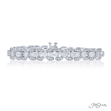 Stunning diamond bracelet featuring emerald-cut diamonds linked together by round diamonds and pave. Handcrafted in pure platinum. [details] Stone Information SHAPE TYPE WEIGHT Emerald Diamond 4.56 ctw. Round Diamond 4.22 ctw. [enddetails] | JB Star 1702-002 Bracelets