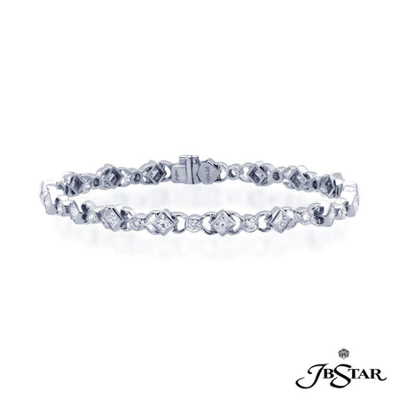 Dazzling diamond bracelet features 17 princess cut diamonds and 17 round diamonds in a stunning design. Handcrafted in pure platinum. [details] Stone Information SHAPE TYPE WEIGHT Princess Diamond 2.71 ctw. Round Diamond 1.25 ctw. [enddetails] | JB Star 1711-006 Bracelets