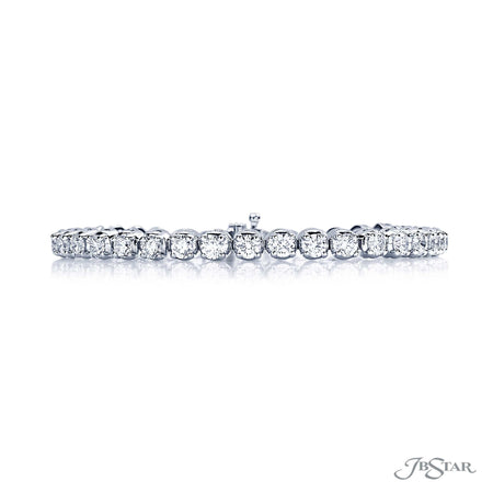 Dazzling diamond bracelet featuring 37 prong set round diamonds, handcrafted in pure platinum. [details] Stone Information SHAPE TYPE WEIGHT Round Diamond 6.50 ctw. [enddetails] | JB Star 1725-002 Bracelets