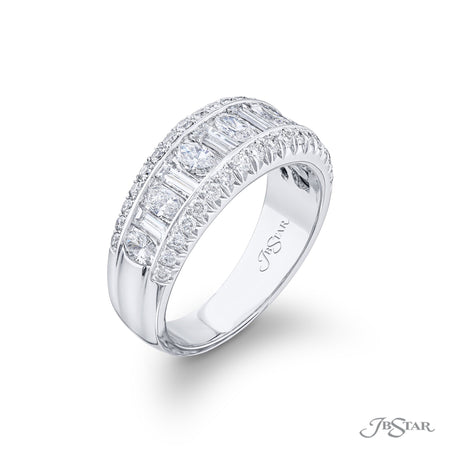 1747-024 | Diamond Wedding Band Marquise & Straight Baguette 1.58 ctw Side View