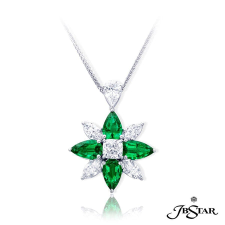 Stunning emerald and diamond pendant in a flower shape design with pear-shape emeralds and marquise diamonds with a cushion-cut center diamonds, all handcrafted in platinum. [details] Center Stone(s) SHAPE TYPE WEIGHT Cushion Diamond 1.01 ct. Stone Information SHAPE TYPE WEIGHT Pear Marquise Pear Emerald Diamond Diamond 3.66 ctw. 1.26 ctw. 0.71 ctw. [enddetails] | JB Star 1761-001 Pendants