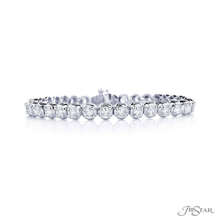 Beautiful diamond bracelet featuring perfectly matched round diamonds in a shared prong setting. Handcrafted in pure platinum. [details] Stone Information SHAPE TYPE WEIGHT Round Diamond 5.30 ctw. [enddetails] | JB Star 1784-001 Bracelets