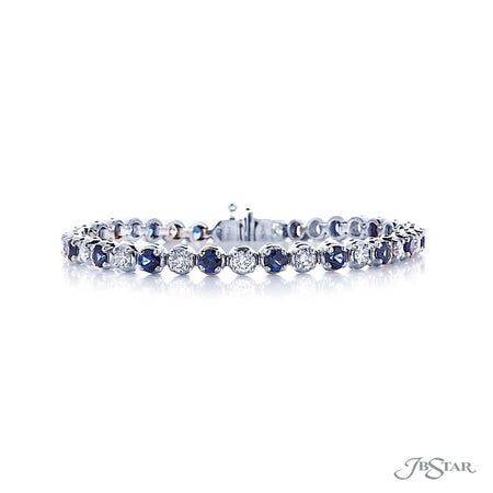 Beautiful sapphire and diamond bracelet featuring 19 round sapphires and 19 round diamonds in an alternating setting. Handcrafted in pure platinum. [details] Stone Information SHAPE TYPE WEIGHT Round Round Sapphire Diamond 4.24 ctw. 2.87 ctw. [enddetails] | JB Star 1794-001 Bracelets