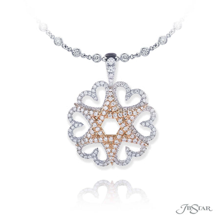Dazzling diamond pendant featuring round diamonds in a beautiful star of david design, handcrafted in pure platinum and 18KY pink gold. [details] Stone Information SHAPE TYPE WEIGHT Round Diamond 1.85 ctw. [enddetails] | JB Star 1797-004 Pendants