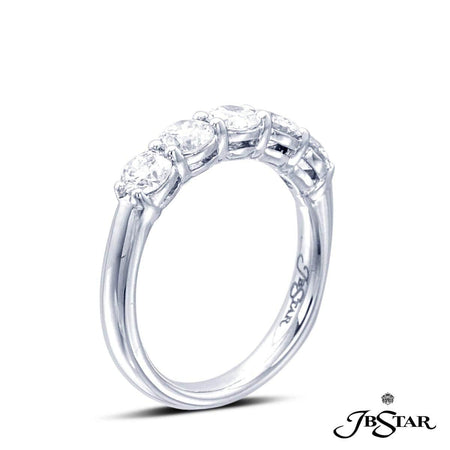 Handcrafted platinum diamond wedding band with 5 perfectly matched round diamonds in shared-prong setting. [details] Stone Information SHAPE TYPE WEIGHT Round Diamond 1.20 ctw. [enddetails] | JB Star 1804-007 Anniversary & Wedding