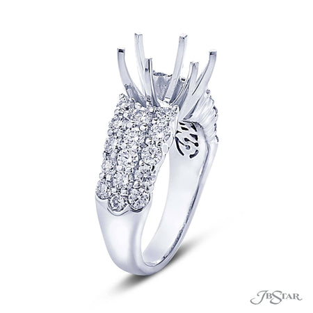 Platinum Semi Mount Ring Setting, 3 Diamond Rows | 1837-001 Side View