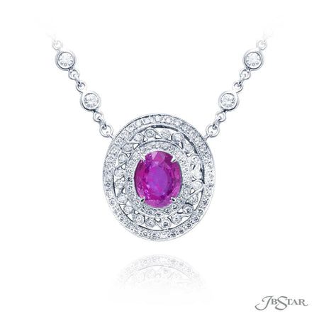 Stunning pink sapphire and diamond pendant featuring a 4.50 ct. certified