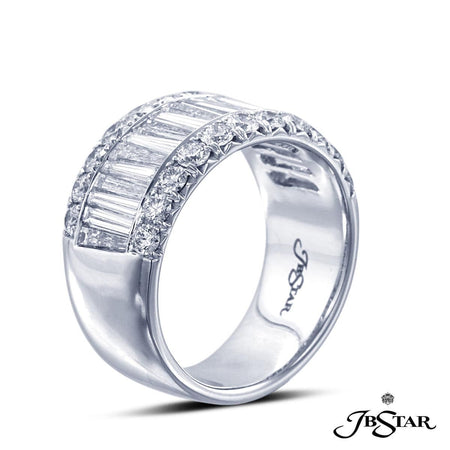 This exquisite diamond and platinum wedding band is handcrafted with 20 tapered baguette diamonds and 22 round diamonds. [details] Stone Information SHAPE TYPE WEIGHT Tapered Baguette Round Diamond Diamond 1.74 ctw. 0.92 ctw. [enddetails] | JB Star 1845-012 Anniversary & Wedding