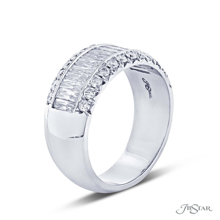 Gorgeous diamond wedding band featuring 15 JB Star cut diamonds in a center channel surrounded by round micro pave diamonds. [details] Stone Information SHAPE TYPE WEIGHT JB Star Cut Round Diamond Diamond 1.92 ctw. 0.71 ctw. [enddetails] | JB Star 1845-022 Anniversary & Wedding