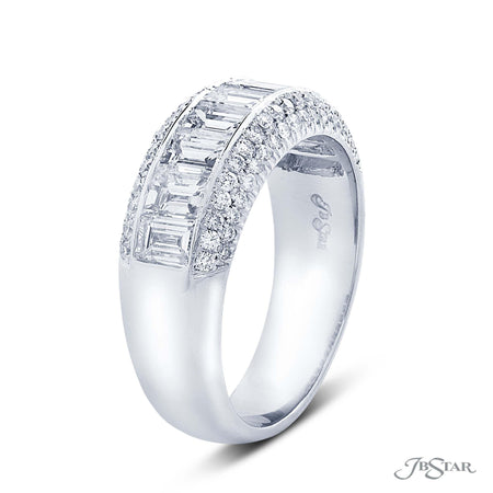 Stunning diamond wedding band featuring a center channel of 9 straight baguette diamonds surrounded by micro pave. Handcrafted in pure platinum. [details] Stone Information SHAPE TYPE WEIGHT Straight Baguette Diamond 1.84 ctw. Round Diamond 0.37 ctw. [enddetails] | JB Star 1849-002 Anniversary & Wedding