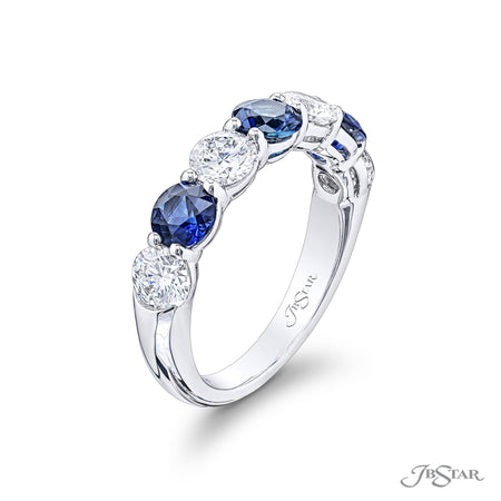 Gorgeous sapphire and diamond band featuring a 4 round diamonds and 3 round sapphires. Handcrafted in platinum. [details] Stone Information SHAPE TYPE WEIGHT Round Round Diamond Sapphire 1.23 ctw. 1.36 ctw. [enddetails] | JB Star 1851-019 Anniversary & Wedding