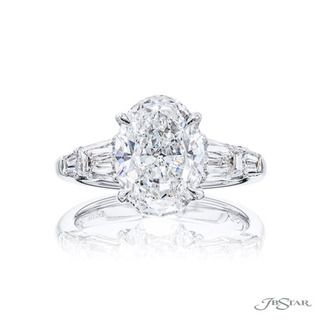 1863-047 | Diamond Engagement Ring 3.00 ct. Oval GIA Certified Front View