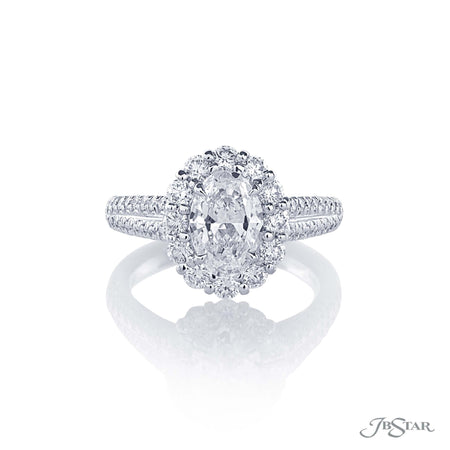 1.21 ct Oval Diamond Engagement Ring in platinum micro pave setting