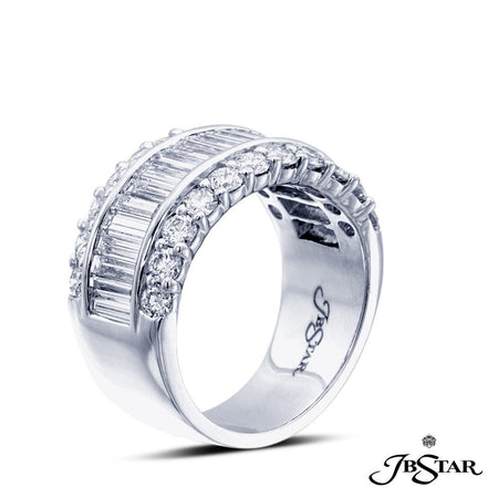 Platinum diamond band handcrafted with straight baguettes set in a channel with round diamond pave. [details] Center Stone(s) SHAPE TYPE WEIGHT Round Straight Baguettes Diamond Diamond 1.08 ct. 1.64 ct. [enddetails] | JB Star 1873-001 Anniversary & Wedding