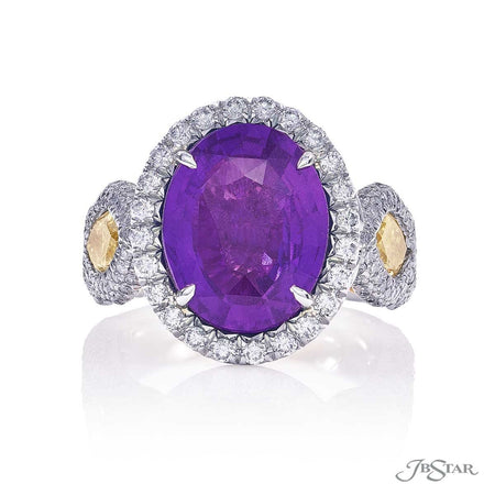 6.04 ct Oval Purple Sapphire and Fancy Yellow Diamond Ring | 1882-003 Top View