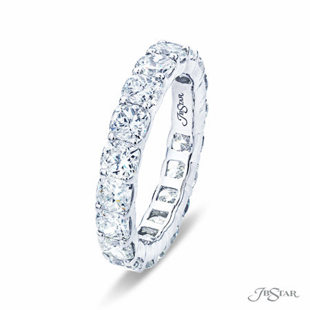 Cushion Cut Diamond Eternity Ring, Platinum Prong Setting 1912-001 Side View