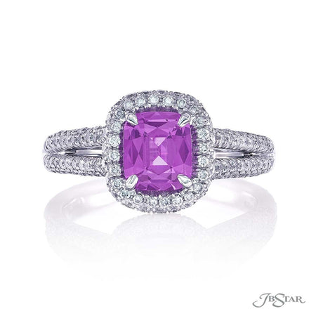 1.16 ct Cushion Cut Purple Sapphire Micro Pave Diamond Ring | 1914-012 Top View