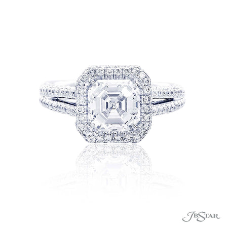 Platinum 2.09 ct Square Emerald Cut Halo Diamond Engagement Ring with split band