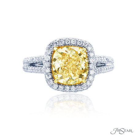 2.73 ct Fancy Yellow Cushion Cut Diamond Engagement Ring in Platinum and 18K Yellow Gold Setting