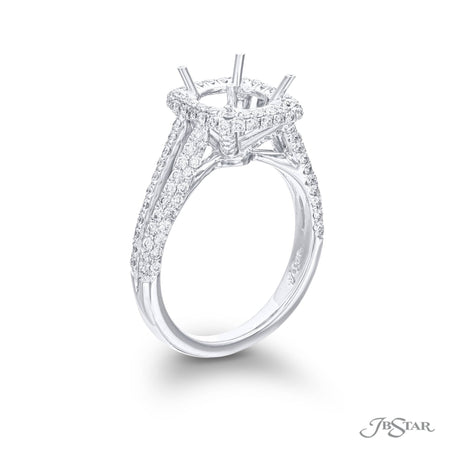 Gorgeous diamond semi-mount featuring 3 sided pave split shank setting. Handcrafted in pure platinum. [details] Stone Information SHAPE TYPE WEIGHT Round Diamond 0.66 ctw. [enddetails] | JB Star 1914-127 Semi Mount Settings