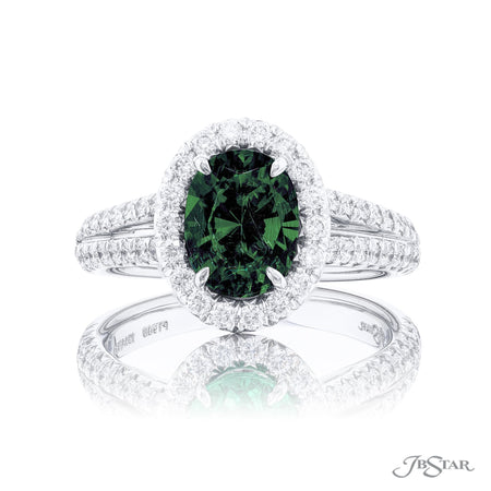 1914-154 | Emerald & Diamond Ring 1.53 ct Oval Micro Pave Split Shank Front View