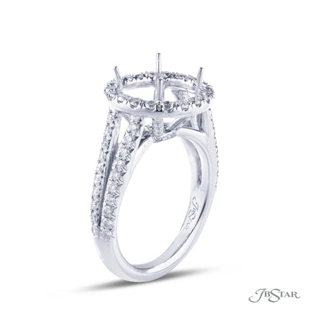 Beautiful diamond semi-mount in a gorgeous micro pave halo setting. Handcrafted in pure platinum. [details] Stone Information SHAPE TYPE WEIGHT Round Diamond 0.90 ctw. [enddetails] | JB Star 1916-010 Semi Mount Settings