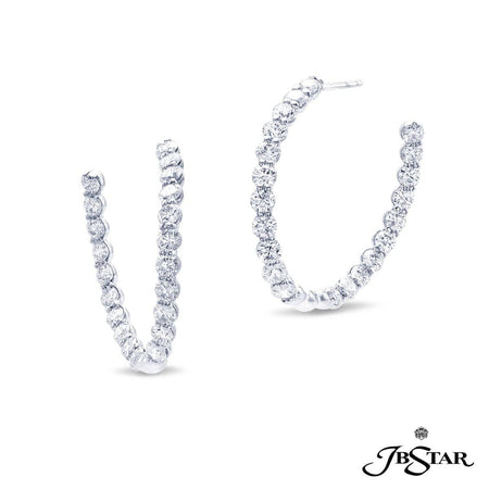Stunning diamond platinum hoop earrings handcrafted with 42 perfectly matched round diamonds in shared-prong setting. [details] Center Stone(s) SHAPE TYPE WEIGHT Round Cut Diamond 4.12 ctw. [enddetails] | JB Star 1920-005 Earrings